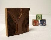 Letter Y Wood Letterpress with 3 Toy Blocks Initial Y Vintage