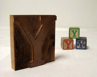 Letter Y Wood Letterpress with 3 Toy Blocks Initial Y Vintage
