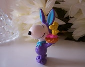Vintage Peanuts Snoopy in Purple Easter Bunny Suit with Ears PVC Miniature Figurine