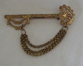 Vintage Brooch, Skeleton Key Pin, Chatelaine, Swag Chain Pin