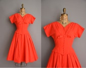 50s tomato red cotton full skirt vintage dress / vintage 1950s dress