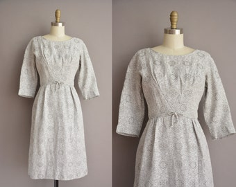 50s light gray brocade vintage wiggle dress / vintage 1950s dress