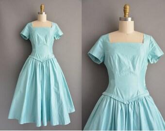 Deeds 50s ice blue polished cotton vintage full skirt dress / vintage 1950s dress