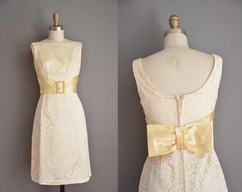 vintage 1960s dress / Paisley lace party dress / 60s dress