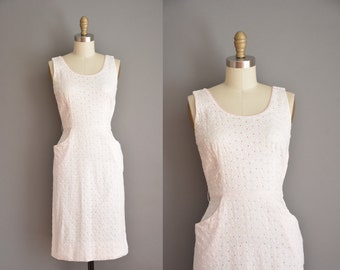 vintage 1950s dress / eyelet cotton wiggle dress / 50s dress