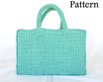 Book tote PDF crochet PATTERN bag handles star stitch carrying case pouch rectangle cover customizeable small pretty library purse