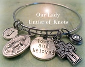 Our Lady Untier of Knots Bangle, Virgin Mary, Love and Beloved, Swarovski Birthstone Crystal,  Monogram Letter, Catholic Jewelry