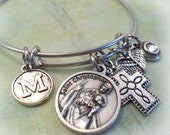 St. Christopher Bangle, Patron Saint of Travelers Prayer, Swarovski Birthstone Crystal,  Monogram Letter, Catholic Jewelry