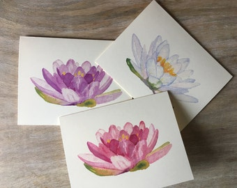 Lily Flower Note Cards - greetings, thank you, invitations. - Lotus flower - pink, purple, white mixed set of flowers - notecards