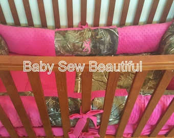 Custom Real Tree Camouflage Crib Bedding Set with your choice of minky color