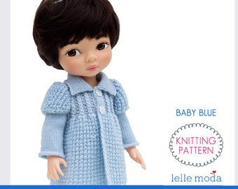 Knitting Pattern - for Disney Animators dolls - 16 inch Doll Clothes Pattern -  Coat and Hat Pattern - Baby Blue  - Knitting Tutorial
