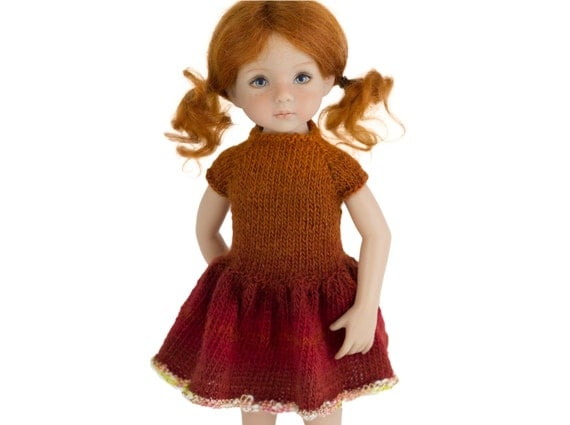 Knitting Patterns For 13 Inch Dolls : Almond Dress - Knitting Pattern - Little Darling Dolls by ...