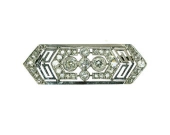 French Art Deco platinum diamond wedding brooch