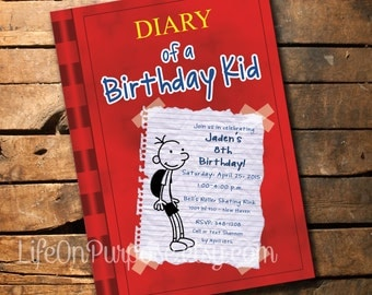 Diary of a Wimpy Kid Birthday Party Invitations