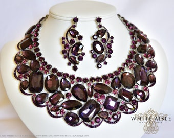 Purple Wedding Jewelry Set, Crystal Statement Necklace, Bridal Jewelry Set, Vintage Inspired Bridal Necklace, Bridal Earrings
