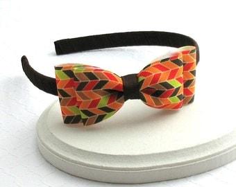 Fall Headband ~ Toddler ~ Girls Thanksgiving Headband ~ Autumn, Brown, Ribbon Wrapped Big Girls Bow Headband