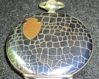 Stunning 1914 14K Rose Gold 15 Jewel Niello Pocket Watch Running & Keeps Time!!!