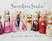 Custom Wooden Peg Saint Doll - Catholic Toy and Keepsake