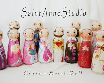 Custom Wooden Peg Saint Doll - Catholic Toy and Keepsake