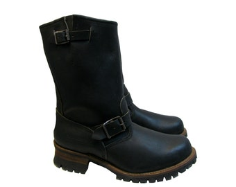 Vintage Motorcycle Boots Womens Walker Black Oil Tanned Leather Mid Calf Vibram Lug Sole Engineer Boots Made In The USA Wms US Size 10