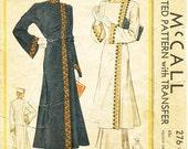 Vintage 1930s Coat Pattern - McCall 276 - Ladies' & Misses' Russian Coat and Hat - Sz 16/Bust 34