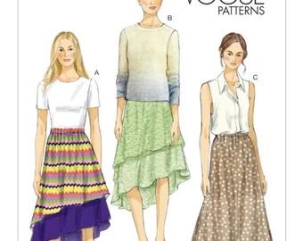 ON SALE Sz Xsm/Sml/Med - Vogue Skirt Pattern V8981 - Misses' Gathered Waistline, Tiered Skirt in Three Variations - Vogue Patterns