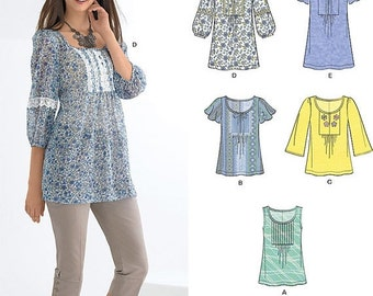 ON SALE New Look Top Pattern 6027 -  Misses' Pullover Tunic Tops in Five Variations - Sz 10 to 22 - New Look Patterns - Uncut
