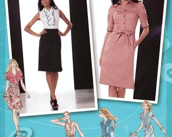 Simplicity Dress Pattern 2403 - Misses' One-Piece Shirtwaist Dress with Bodice and Sleeve Variations - Project Runway -  Sz 4/6/8/10/12