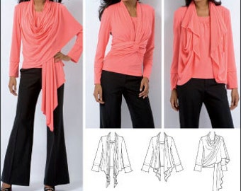 Simplicity Top Pattern 2603 - Misses' Knit Top and Cardi-Wrap with Front Variations - Sz XXS/XS/S/M