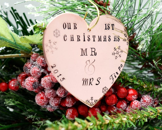 Personalized Large Copper Heart Christmas Ornament, Hand Stamped Christmas Ornament, Custom Metal Ornament, Family Ornament