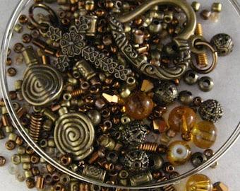 KIT Antique Bronze Heart and Cross Beaded Wrap Memory Wire Bracelet KIT