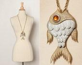 vintage 70s fish statement necklace pendant