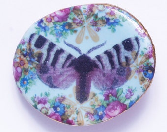 Butterfly Pin Brooch Studio Limoges Porcelain Handmade Blue Flowers