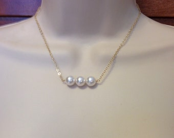 Pearl Necklace with Three Swarovski Glass Pearls in White or Ivory on 14kt Gold Filled Chain or Sterling Silver Chain in 16 or 18 Inches