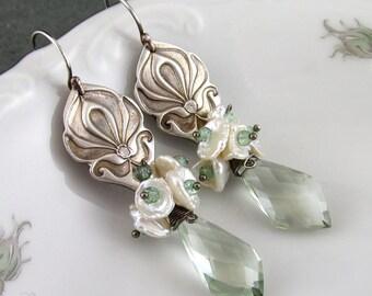 Prasiolite earrings, handmade eco friendly fine silver Art Nouveau white pearl earrings-OOAK
