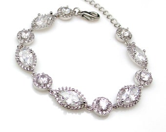 bridal bracelet bridesmaid gift christmas prom party jewelry wedding Clear white marquise and round shape cubic zirconia white gold finish