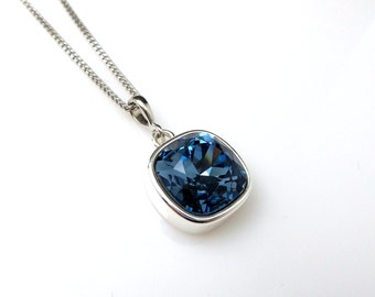 Swarovski denim blue navy vintage square silver setting pendant crystal rhinestone sterling silver chain necklace bridesmaid party gift