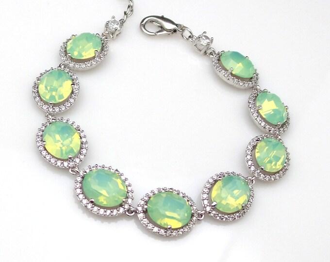 bridesmaid jewelry bracelet bridal wedding prom christmas gift swarovski rhinestone oval chrysolite opal mint cubic zirconia bracelet