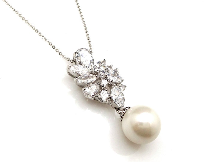 wedding jewelry bridal necklace prom bridesmaid party white cream 12mm soft round pearl cluster cz drop necklace sterling silver chain