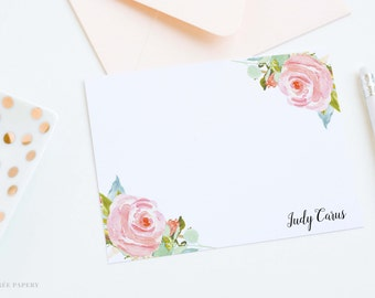 Personalized Note Card Set | Flat Notecard Set | Personalized Stationery | Floral Watercolor Notecards | Judy