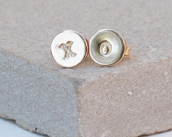 Dainty Silver XO Stud earrings, hugs and kisses, I love you gift, best friends, mother daughter gift,