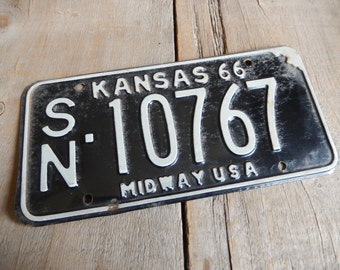 License Plate Kansas Vintage 1966 Black and White Rustic Garage, Industrial, Man Cave, Pub, Bar Decor, Barn, Wall Hanging, Home Decor
