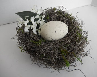 Bird Nest Rustic Handmade with  Speckled Ivory Faux Egg and Lily of the Valley Accents by AMarigoldLife on Etsy