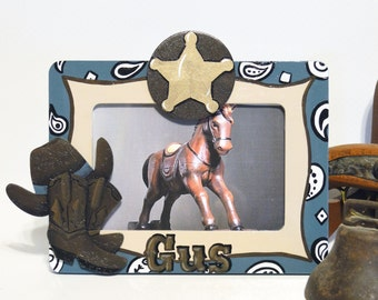 Boys Hand Painted Personalized Cowboy Frame