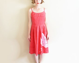 vintage dress sun coral pink 60s butterfly sundress 1960s hawaii summer womens clothing size s small