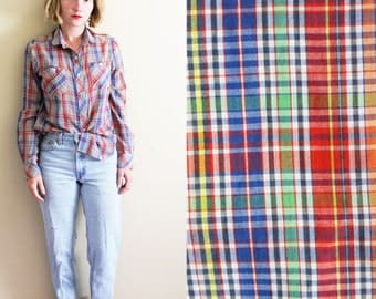 vintage shirt 80s womens blouse plaid rainbow clothing 1980s button down size small s