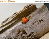 On Sale Wire Wrapped Brass Orange Agate Ring size 6