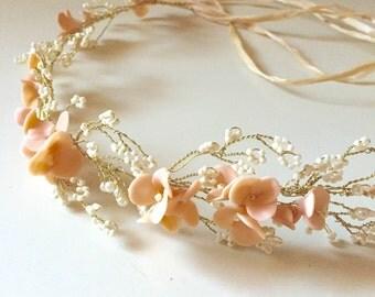 Blush Floral halo, Bridal, flower halo, Summer wedding, Peach flowers, Ready to Ship