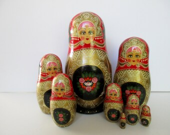 "extra large 10"" set of 8 nesting MATRYOSHKA DOLLS - Made in RUSSIA, red, gold, pink, wood, floral"