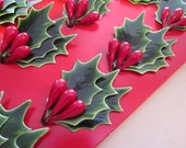 12 miniature holly leaf and berry picks